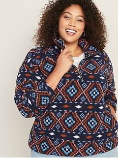 Plus-Size Sherpa 1/2-Zip Pullover