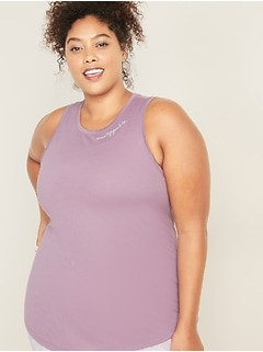 Relaxed Plus-Size Graphic Muscle Tank
