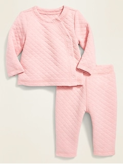 Diamond-Quilted Jersey Kimono Top & Pants Set for Baby