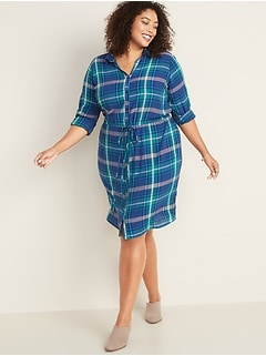 Plaid Waist-Defined Plus-Size No-Peek Shirt Dress