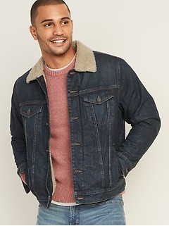 Dark-Wash Sherpa-Lined Jean Jacket for Men