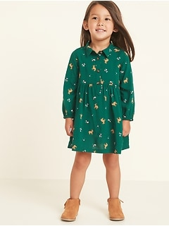 Printed Popover Shirt Dress for Toddler Girls