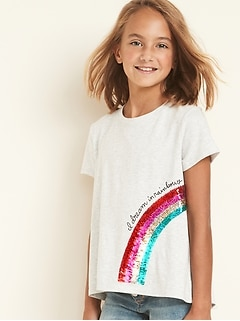Flippy-Sequin Graphic Split-Back Tee for Girls