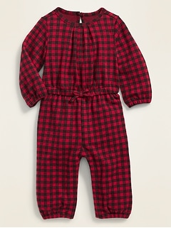 Plush-Knit Gingham Jumpsuit for Baby