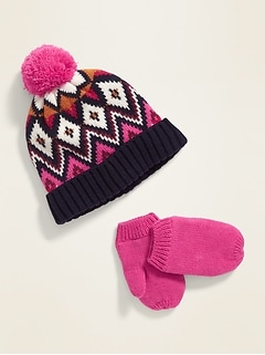 Pom-Pom Beanie & Mittens Set for Toddler Girls