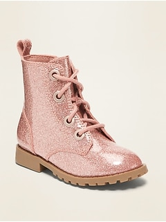 Glitter Combat Boots for Toddler Girls