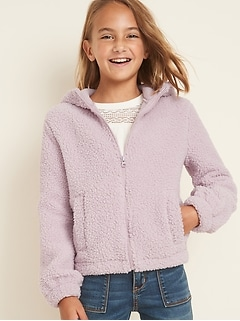 Sherpa Cinched-Hem Zip Hoodie for Girls