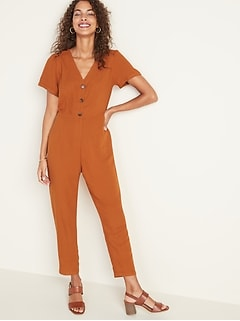 V-Neck Button-Front Jumpsuit for Women