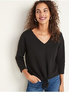 V-Neck Textured-Knit Tie-Hem Top for Women