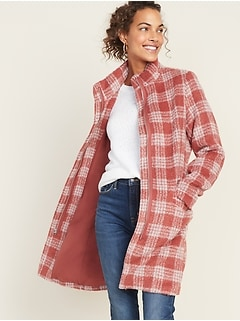 Relaxed Funnel-Neck Plaid Coat for Women