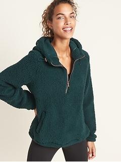 Plush Sherpa 1/2-Zip Hoodie for Women