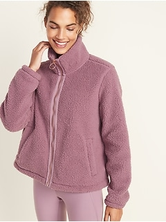 Loose-Fit Sherpa Zip Jacket for Women