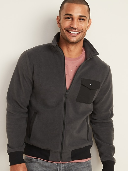 Old Navy Mens Micro Performance Fleece Chest-Pocket Full-Zip Jacket
