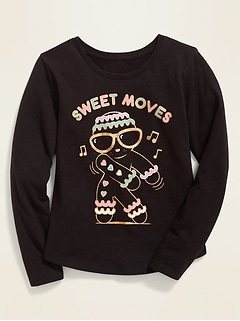 Christmas-Graphic Long-Sleeve Tee for Girls