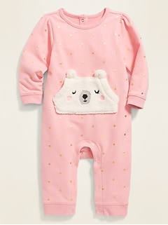 French Terry Polar Bear-Pocket One-Piece for Baby
