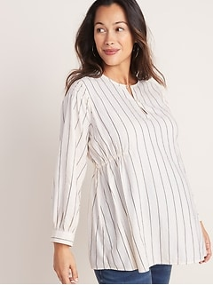 Maternity Smocked-Shoulder Striped Swing Blouse