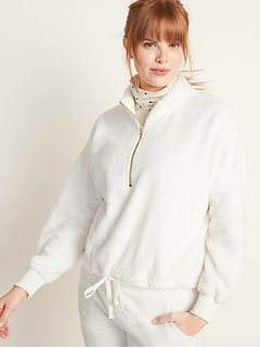 Mock-Neck Plush-Knit 1/2-Zip Pullover for Women