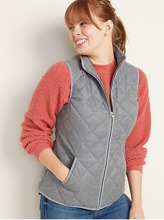 Lightweight Diamond-Quilted Vest for Women