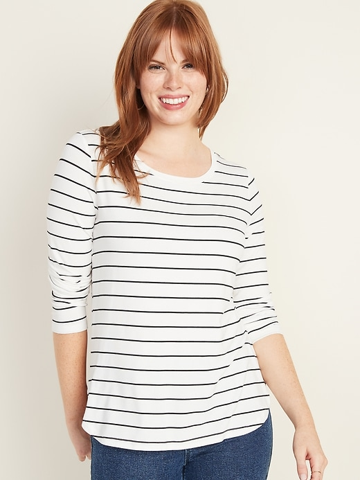 Luxe Long-Sleeve Hi-Lo Hem Striped Tee for Women