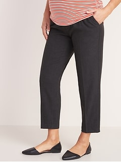 Maternity Mid-Rise Full-Panel Pull-On Straight Pants