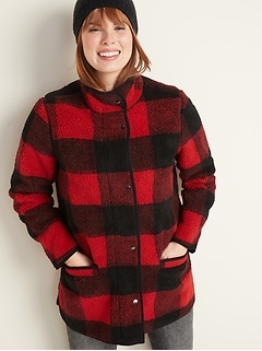 Plaid Sherpa Coat for Women