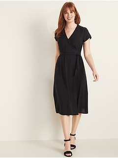 Wrap-Front Midi Dress for Women