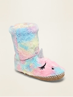 Plush Sherpa Critter Slipper Boots for Girls