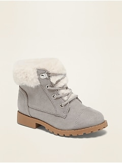 Faux-Fur-Lined Sueded Hiker Boots for Toddler Girls