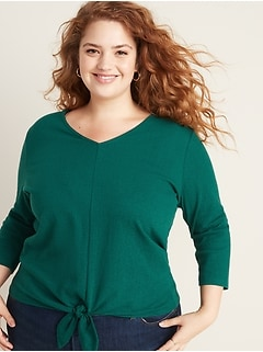 Relaxed Plus-Size Bracelet-Sleeve Tie-Front Top