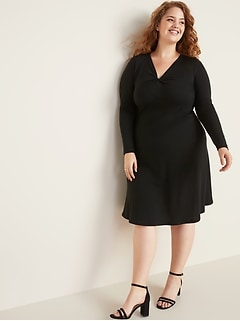 Plus-Size Fit & Flare Twist-Front Midi Dress