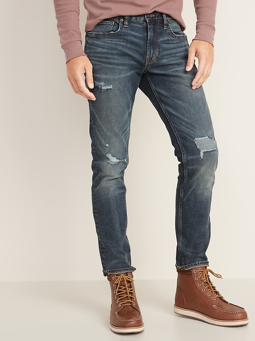 Old Navy Men's Relaxed Slim Built-In Flex Distressed Jeans