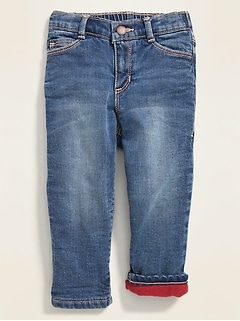 Micro Performance Fleece-Lined Boyfriend Jeans for Toddler Girls