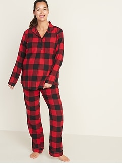 Maternity Printed Flannel Pajama Set