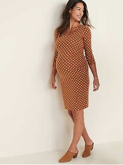 Maternity Printed Scoop-Neck Bodycon Dress