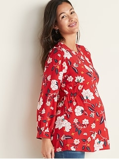 Maternity Smocked-Shoulder Printed Swing Blouse