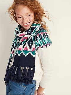 Fair Isle Sweater-Knit Scarf for Women