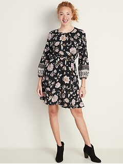 Waist-Defined Floral Keyhole Dress for Women
