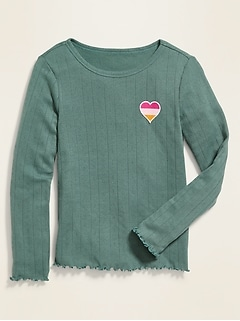 Pointelle Patch-Graphic Long-Sleeve Tee for Girls