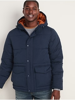 Water-Resistant Hooded Puffer Jacket for Men