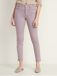 High-Waisted Built-In Warm Pop-Color Rockstar Jeans for Women
