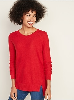 Textured-Stitch Boat-Neck Tunic Sweater for Women