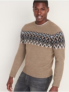 Fair Isle Crew-Neck Sweater for Men