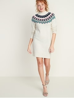 Mock-Neck Fair Isle Sweater Dress for Women