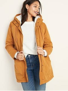 Water-Resistant Hooded Faux-Fur-Lined Parka for Women