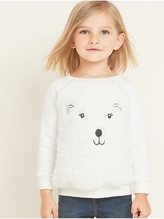 Plush Sherpa Critter Sweatshirt for Toddler Girls