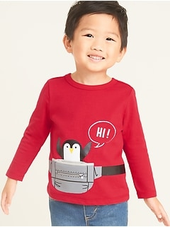 Critter Novelty Graphic Long-Sleeve Tee for Toddler Boys