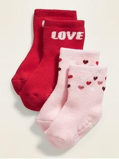 Valentine-Print Crew Socks 2-Pack for Baby