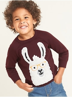Llama-Graphic Sweatshirt for Toddler Boys