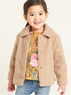 Plush Sherpa Coat for Toddler Girls