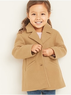 Button-Front A-Line Coat for Toddler Girls